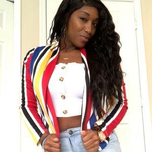 Women's multi-colored striped blazer open blazer